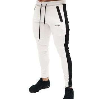 2019 otoño Fitness Gyms pantalones de hombre de longitud completa pantalones de chándal pantalones de moda Casual entrenamiento Jogger pantalones de algodón