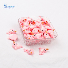 Xugar 10pcs Flat Back Dolphin Resin Cute Unicorn Charms DIY Cabochons Resin Necklaces Embellishment Accessories DIY Craft Resin 50pcs lots cute fly horse flat back resin diy craft supplies for bow center decoration unicorn button earring jewelry ornament