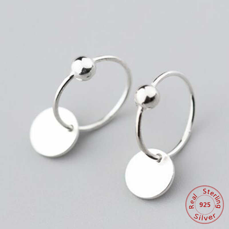 2019 Brief Solid Silver Round Wafer Charm Earrings For Women Girls 925 Sterling Silver Geometry Minimalist Jewelry