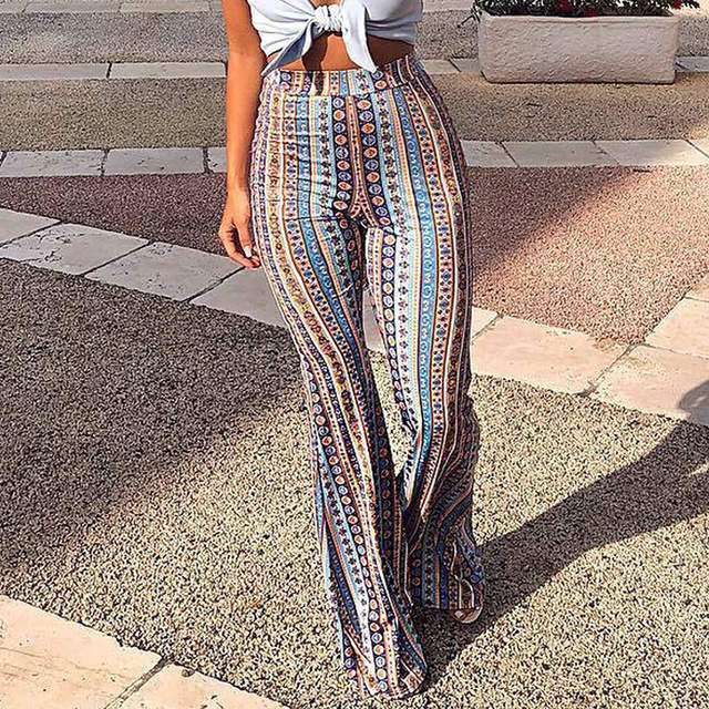 fe374d2a33c3b Online Shop 2018 Women Striped Printed New Boho Flare Pants High Elastic  Waist Vintage Soft Stretch Ethnic Style Bell Bottom Hippie Pants