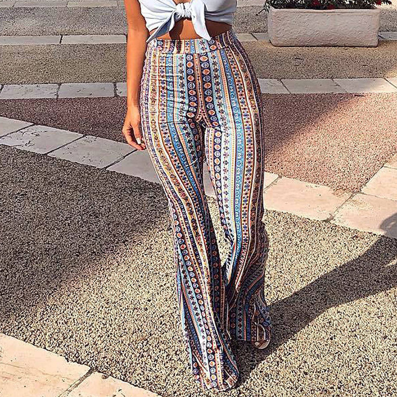 2020 Women Striped Printed New Boho Flare Pants High Elastic Waist Vintage Soft Stretch Ethnic Style Bell Bottom Hippie Pants