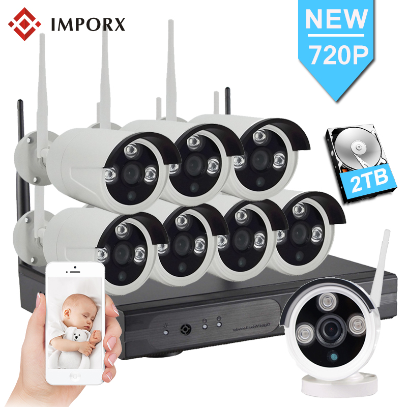8CH 1.0MP Wireless CCTV Security Camera System 720P HD IP Camera Wifi CCTV System Video Surveillance Kit With Power Supply Box