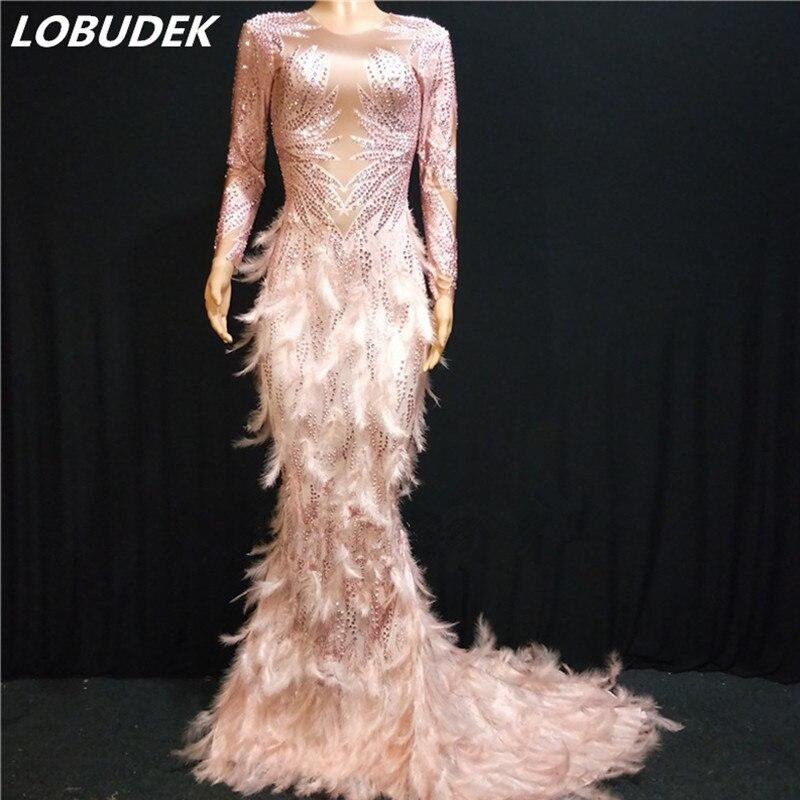 Rose plume Bling strass robe de sirène mode dame chanteuse hôte soirée Performance longue robe modèle Catwalk queue robe