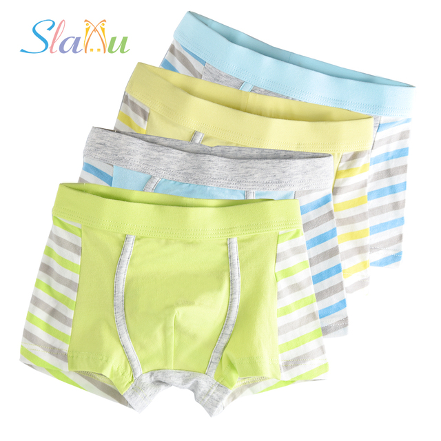 4-Pack Organic Cotton Kids Boxers for Boys Shorts Panties Children Underwear Boy Stripes Children's Teenager Underpant 2-16T