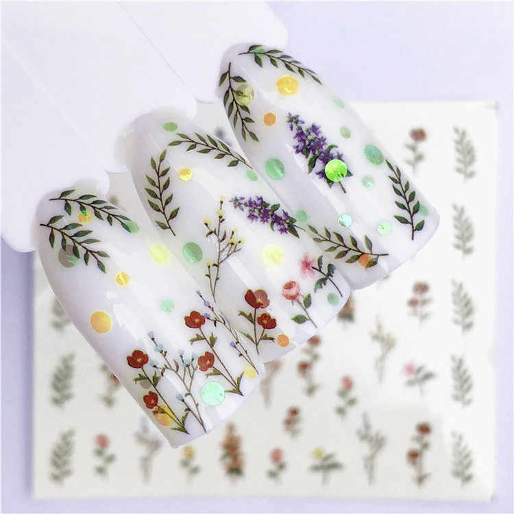 1 pcs Fruit Christmas Nail Stickers Flowers pPlants Water Decal Cat Pattern 3D Manicure Sticker Nail Art Decoration m1R03