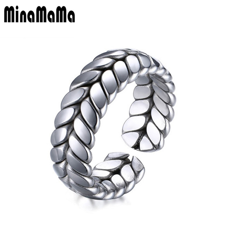 New Leaf Rings Mens Boys 316L Stainless Steel Cool Punk Gothic Twist Leaf Opening Grain Rings for Man jewelry wholesale