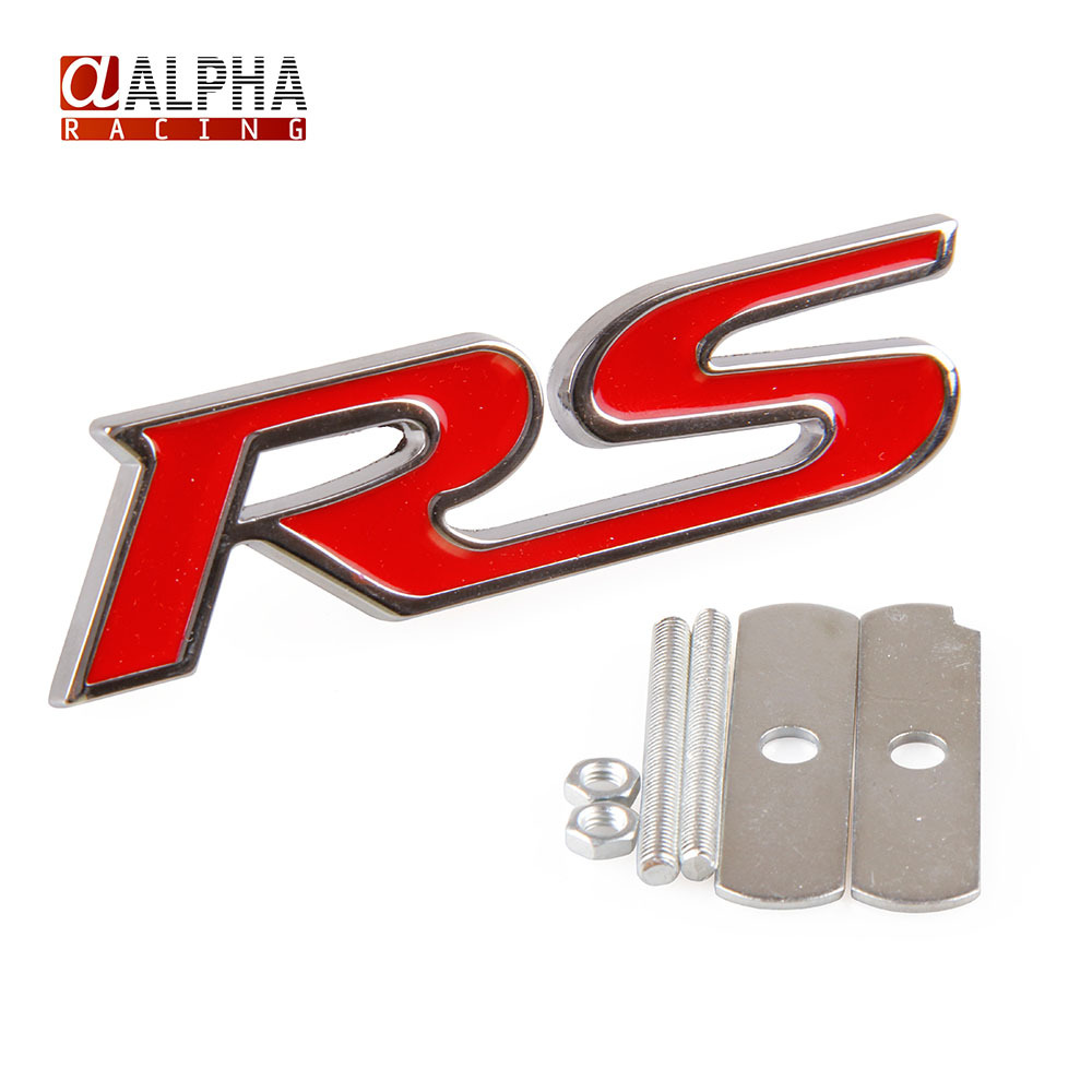 Logo honda rouge - Alpha Racing High Quality Hot Sale Rs Logo Metal Auto Car Emblem 3d Front Grille Badge Auto Accessories Gas Logo Red Color In Emblems From Automobiles
