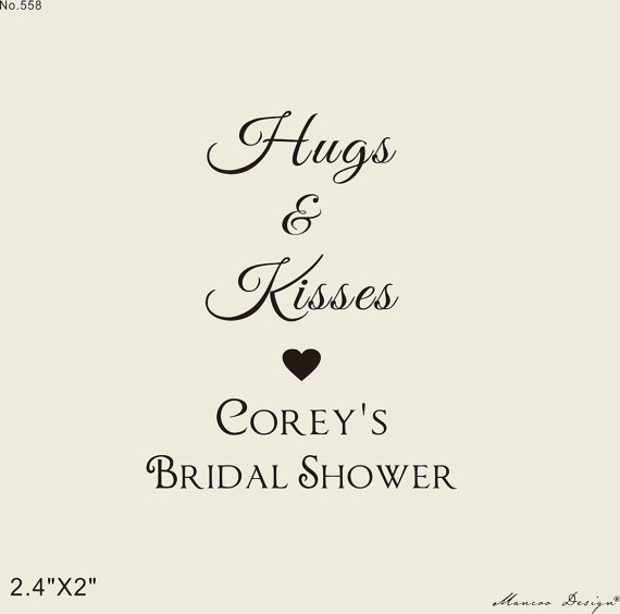 csutom bridal shower stamp 2x15 custom rubber stamp for shower gift tags hugs and kisses bridal shower stamp in stamps from home garden on