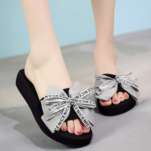 Summer Bow with A High-heeled Platform Fashion Beach Vacation Sandals Slippery Womens Shoes Slides Women