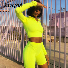 ZOGAA New Female Fluorescence Fitness Two Pieces Sets 2019 Summer Full Sleeve Zipper Turtleneck Tops And High Waist Shorts Suits