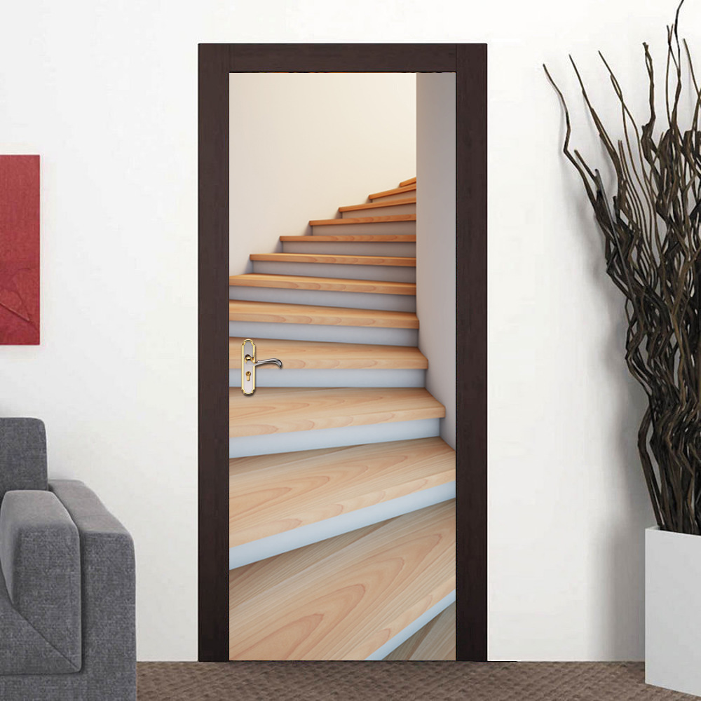 Perfect 2 Pcs/set New Wall Stickers 3D Wood Stairs Creative Door Stickers Bedroom  Doors Renovation Waterproof Door Stickers Home Decor E In Wall Stickers  From Home ...