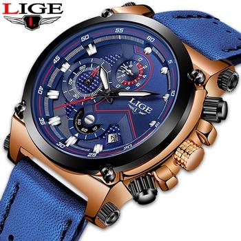 цена Reloje 2019 LIGE Men Watch Male Leather Automatic date Quartz Watches Mens Luxury Brand Waterproof Sport Clock Relogio Masculino онлайн в 2017 году