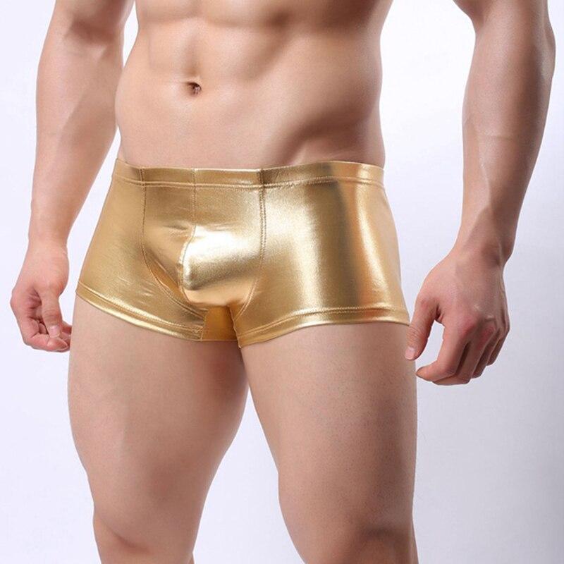 2fe72ab3c1 M -2xl plus size swimwear men low waist wet look boxers swimsuits faux  leather tight swimming shorts underwear trunks bottoms