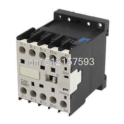 CJX2-K0601 220 Volts Bobina 35mm Trilho DIN 6A Três Pólos 3 P 1NC Contator Da Ca