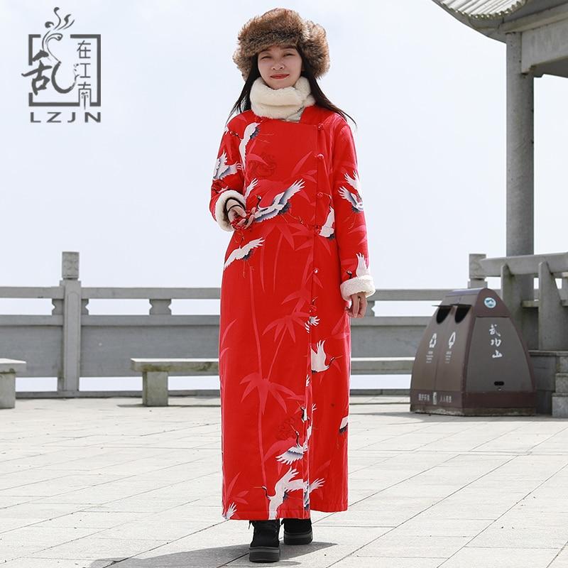 LZJN 2019 Winter Coat Women Faux Fur Jacket Long Sleeve Warm Fleece Maxi Coat Stand Collar
