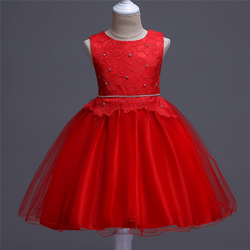 Girl Summer Tulle Gown Dress Red Girls Dress For Girls Princess Birthday Party Dresses Kids Wedding Dress Children Clothes brwcf flower girls dress for party wedding birthday 2017 summer princess dresses leopard printing children clothes 2 8years