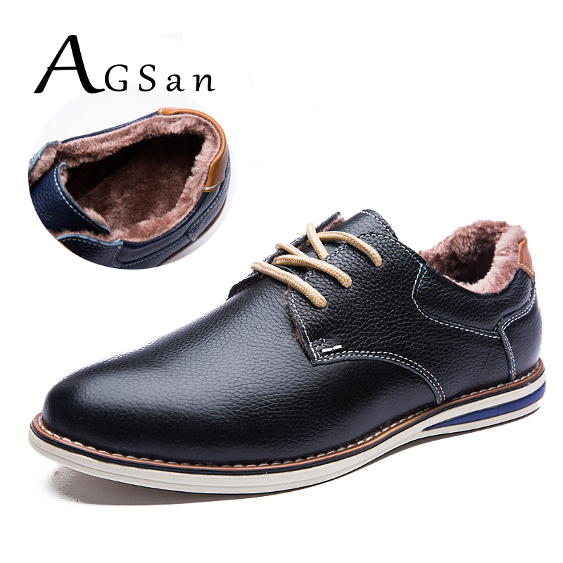 AGSan men shoes winter genuine leather casual shoes lace up keep warm with fur leather footwear black blue brown zapatos hombre