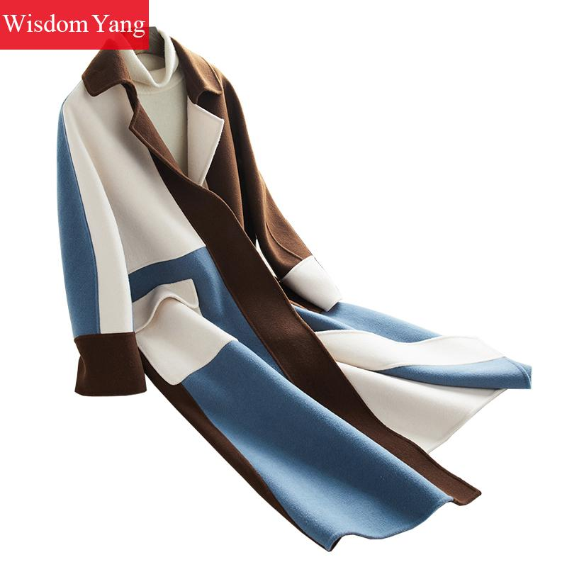 Winter Warm Coat Patchwork Blue White Sheep Wool Coats Women Loose Long Oversize Woollen Woolen Office Ladies Overcoat Outerwear
