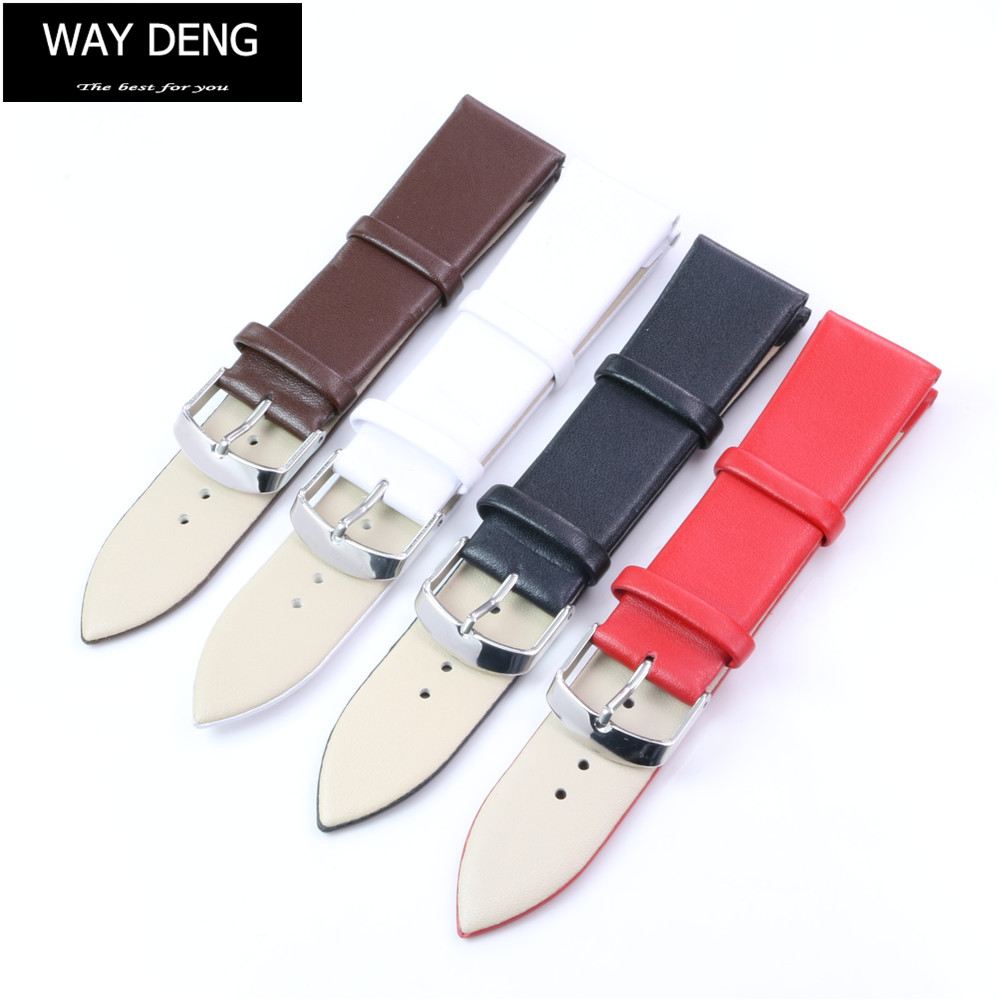 Way Deng - Utra Soft Plain Genuine Leather Wrist Watch Band For Women Men 18/20/22 MM Strap Silver Pin Buckle Watchband - Y138 все цены
