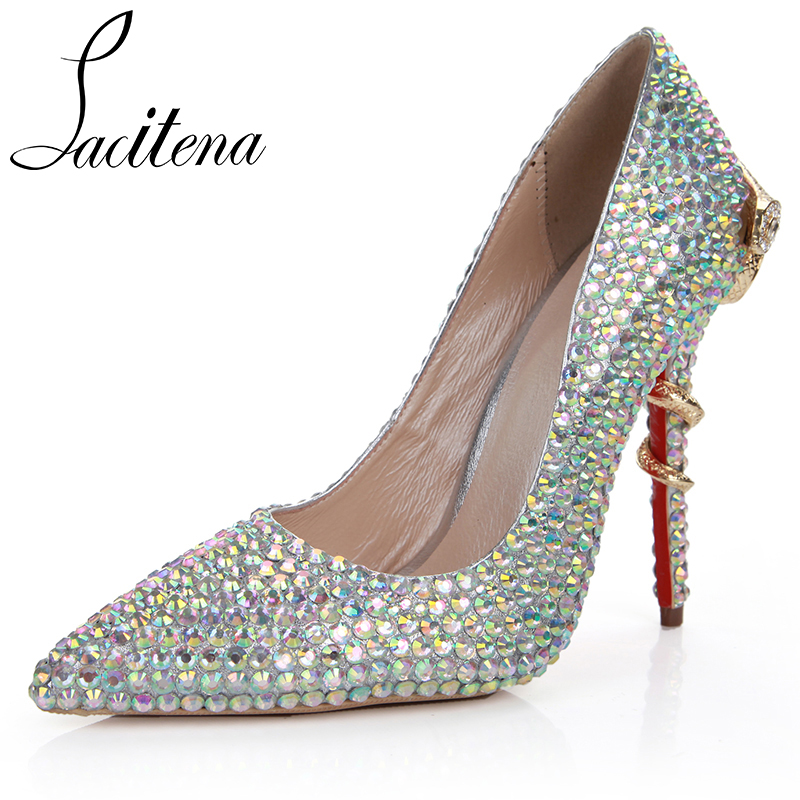 72ea13ba81aeaf Colored Diamond Gold Snake High Heels Shoes Women Elegant Pointed Toe Silver  Shoes Women s Crystal Party Shoes