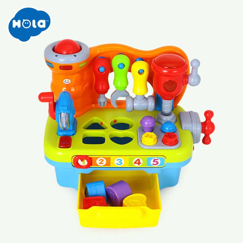 HOLA 907 Игрушки для маленьких детей мастерская Brinquedos Bebe Juguettes младенческой инструмент со звуком Дети раннего обучения игры игрушка подарки на Рождество