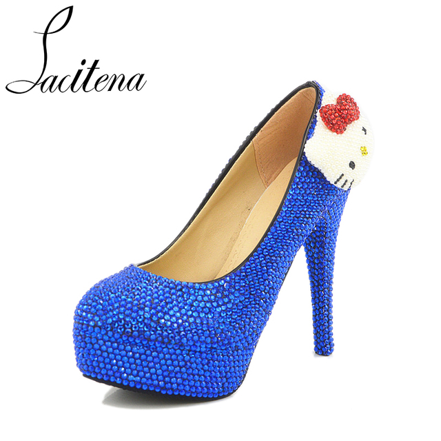 874ef163c237 Blue Crystal Kitty KT Cat Lovely Crystal Pearl Sweet New Bridal Wedding  Shoes