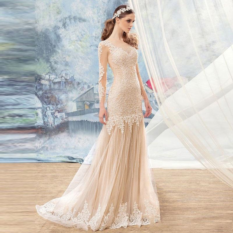 Champagne Color Wedding Dresses Vestidos De Noiva 2017: Vestido De Noiva 2017 Romantic Champagne Tulle Mermaid