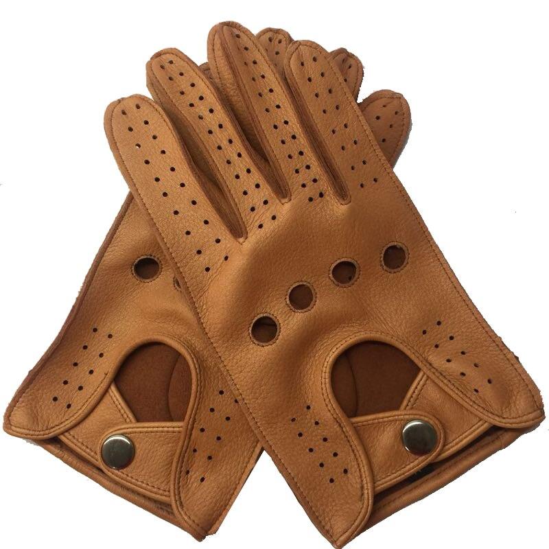 Livraison gratuite hommes printemps en cuir véritable 100 pour cent mince gants mâle doux loisirs noir/marron évider trous Locomotive Luvas