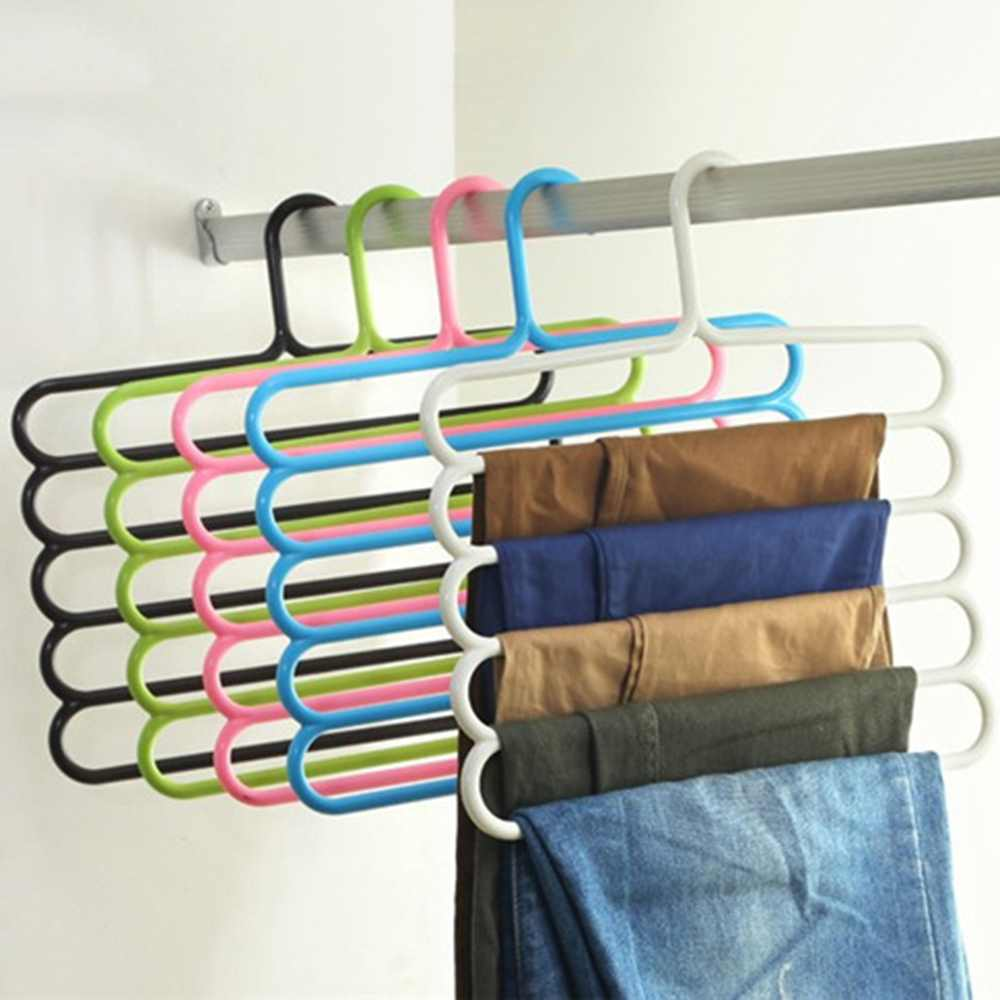 1 stk Fem-lags bukser med bøjler båndhåndklæder Tøj Rack Rumbesparende hjemorganisation