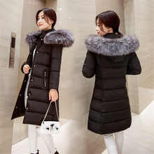 Medium Long Winter Jacket Coat Womens 2016 Thicken Warm White Duck Down Parkas Hooded Faux Fur Collar Slim Overcoat Solid Female