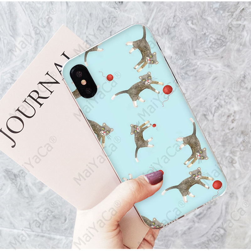 MaiYaCa Cartoon animal cat and bear Unique Design Phone Cover for Apple iPhone 7 8 6 6S Plus X XS MAX 5 5S SE XR Mobile Cases in Half wrapped Cases from Cellphones Telecommunications