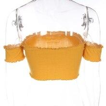 FREE SHIPPING Yellow Off Shoulder Short Sleeve T-Shirt JKP407