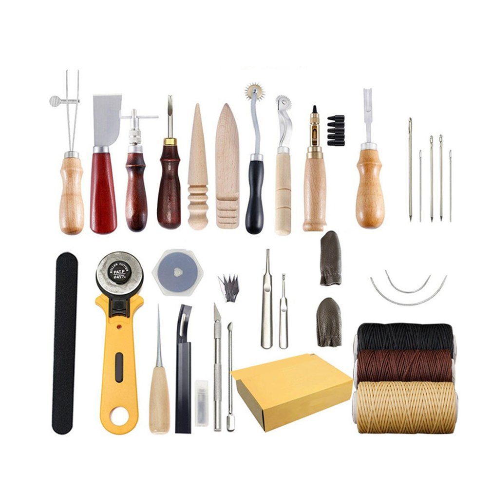 25PCS Leather Craft Tools Kit Carving Work Sewing Stitching Saddle Punch Leathercraft Accessories for DIY Hand Leather Working|Tool Parts| |  - title=