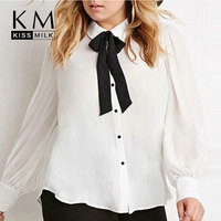 Kissmilk Plus Size New Fashion Women Bow Button Down Big Size White Long Sleeve Chiffon Preppy