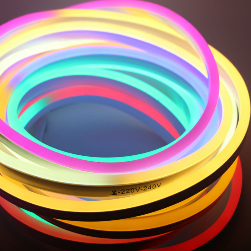 LED Flexible Strip Light AC 220V 230V 240V SMD 2835 LED Neon flex tube 120led IP68 Waterproof rope string lamp + EU Power plug