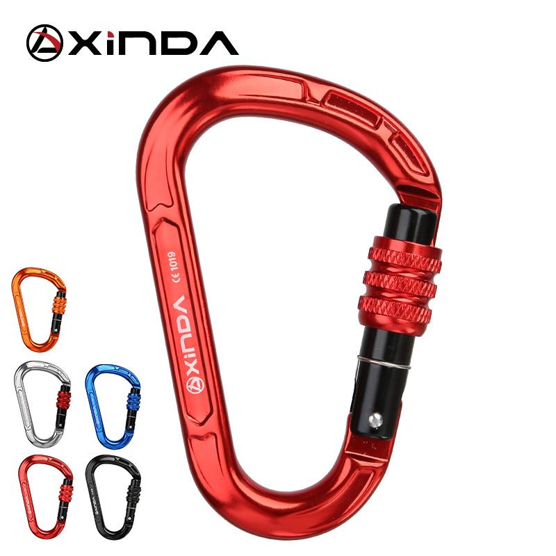XINDA Rock Climbing Carabiner 25KN Safety Screw Lock  Pear-Shape Buckle Spring-loaded Gate Aluminum Carabiner Outdoor Kits