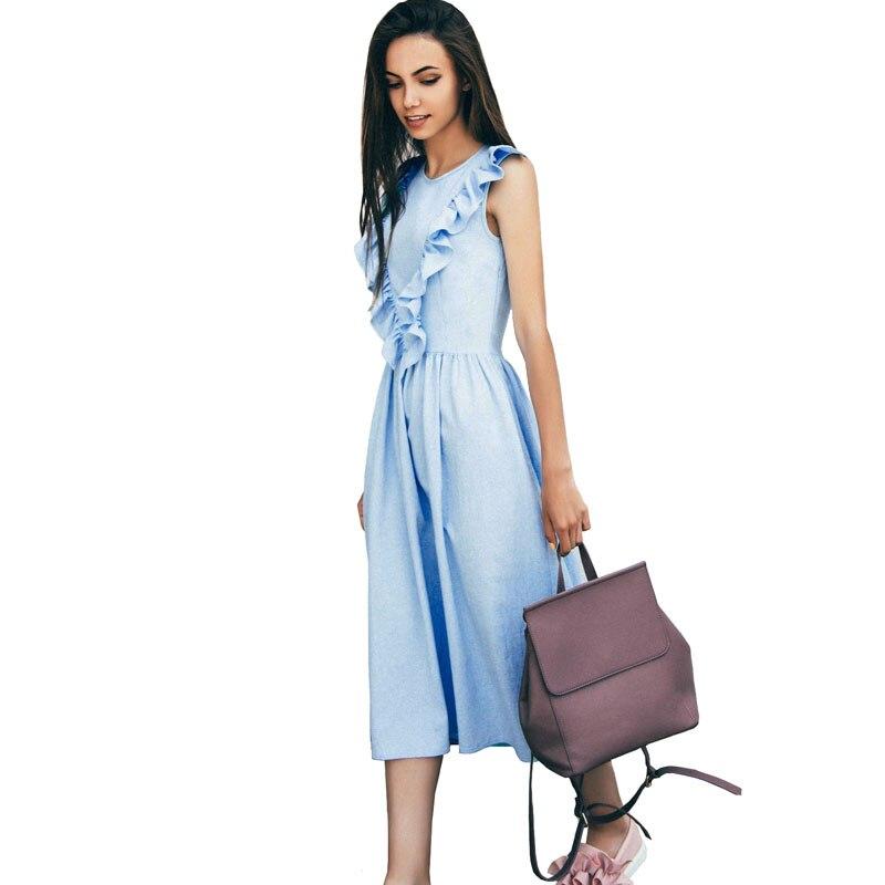 Оборками плиссе Для женщин Лето милое платье 2017 Sky Blue элегантный Винтаж длинные Платья для вечеринок Цветочный Пляж Wonder Woman платье в стиле «Л...