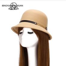 BINGYUANHAOXUAN New Hot Winter Imitation Wool Felt Hats & Caps Womens Fedoras Personalized metal chain Retro Bucket Hat 57-58cm
