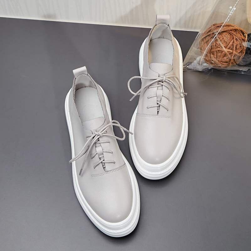 2019 nuevas zapatillas de plataforma planas de cuero genuino de maceta vintage con cordones de punta redonda zapatos de conducción casuales zapatos vulcanizados L6f3-in Zapatos vulcanizados de mujer from zapatos    2