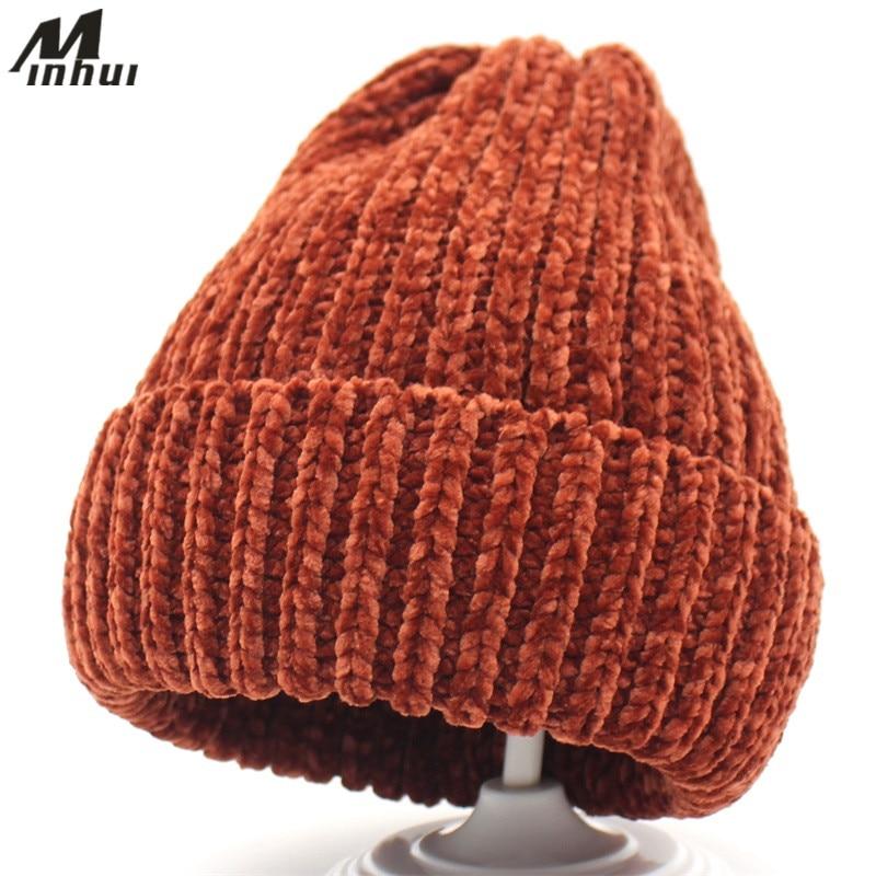 Minhui 2018 nueva moda de punto gorras mujer sombreros de invierno Skullies  Bonnet Caps sombrero 76176fbcc09