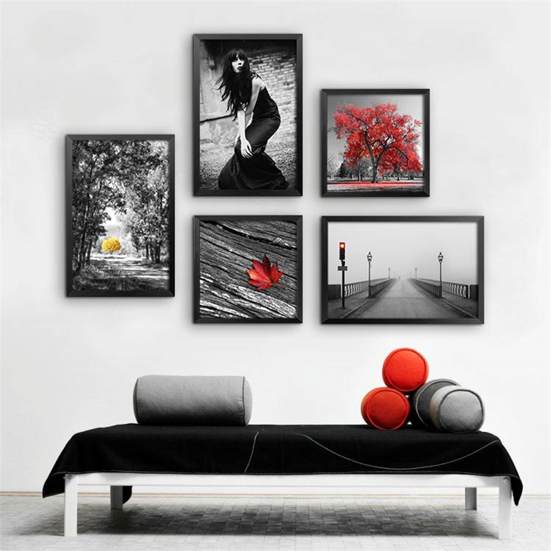 US $34.68 40% OFF|5pc/set 40x60cmx3p+40x40cmx2p black white red living room  wall painting decor scenery figure poster print wall picture YT0003-in ...