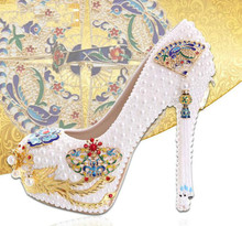White Pearl Phoenix wedding shoes High heels with water cloisonne princess shoes Asakuchi shoes bridal shoes