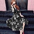 Vestido Sexy V Neck mangas 3/4 tinta de impressão Organza joelho de comprimento Vestidos Midi Floral preto vestido Vestidos moda feminina Robe