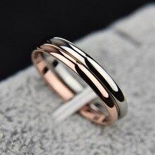 Тук 2 мм тонкая Нержавеющая сталь Три цвета пара кольцо Простой моды розовое золото палец кольцо для женщин ювелирные изделия