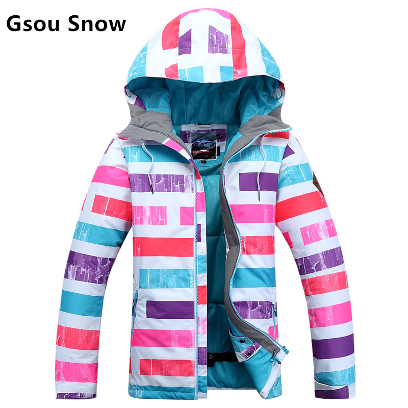 купить Snow gsou ski suit South Korean style female rainbow section of the new wind proof and waterproof warm ski clothes онлайн