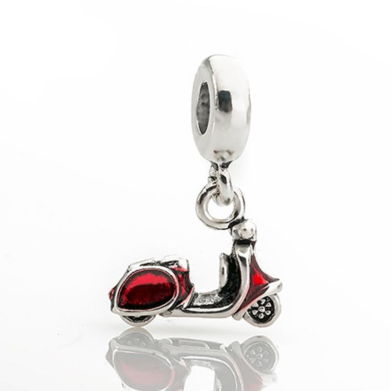 Kvinnor 1 st silverfärg ny europeisk röd motorcykel charms mode - Märkessmycken - Foto 1