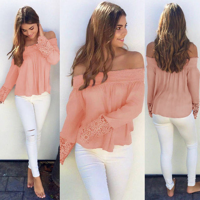 Long Sleeve Slash Neck Clothing Long Sleeve Casual Tops Blouse Fashion Women  Lady Clothes Off Shoulder Casual bf1bbd59eb