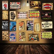 Barber Shop  Retro Tin Sign Shabby Chic Metal Plates For Wall Home Cafe Decoration Poster DU-1264
