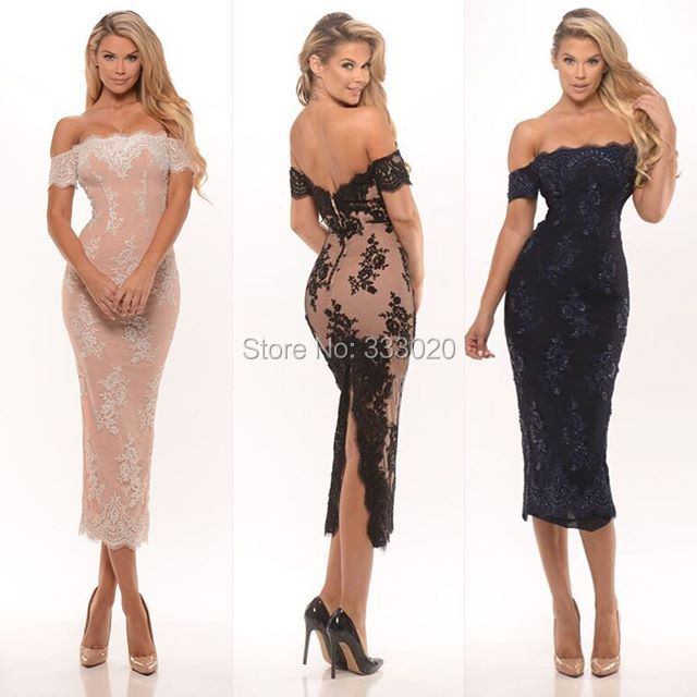 Custom Made Off the Shoulder Lace Back Slit font b Cocktail b font font b Dress