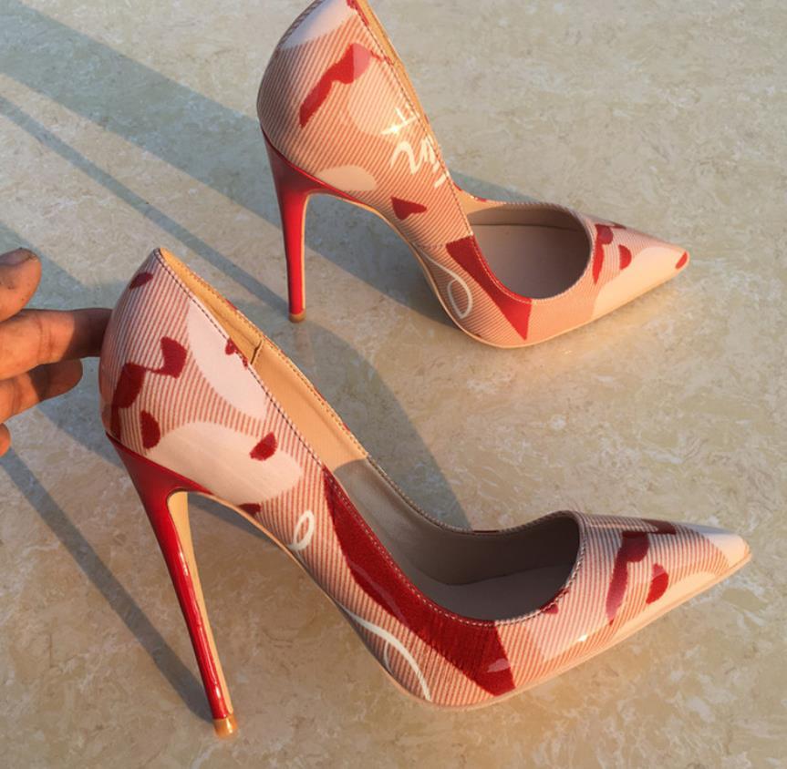 Новые туфли на высоком каблуке 12 см в европейском и американском стиле с граффити, большие размеры, пикантные туфли на шпильке с острым носк